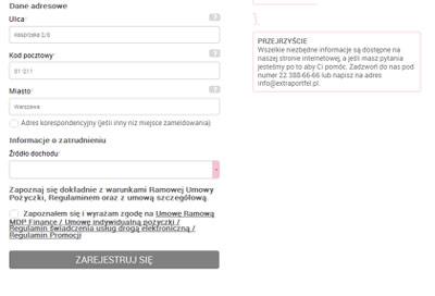 screen otwartego formularza wniosku w Extra Portfel