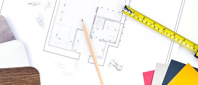 projekt domu, miara oraz próbki materiałów
