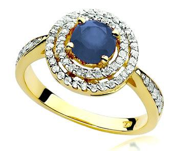 pierścionek z dużym szafirem i brylantami